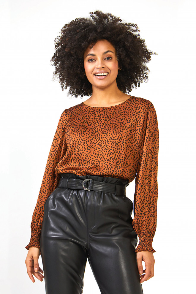Shania Leopard Top Brown