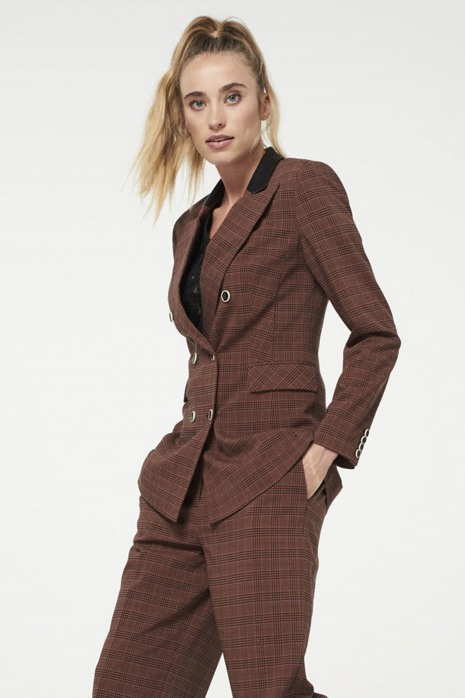 Charise Checkered Blazer Brown
