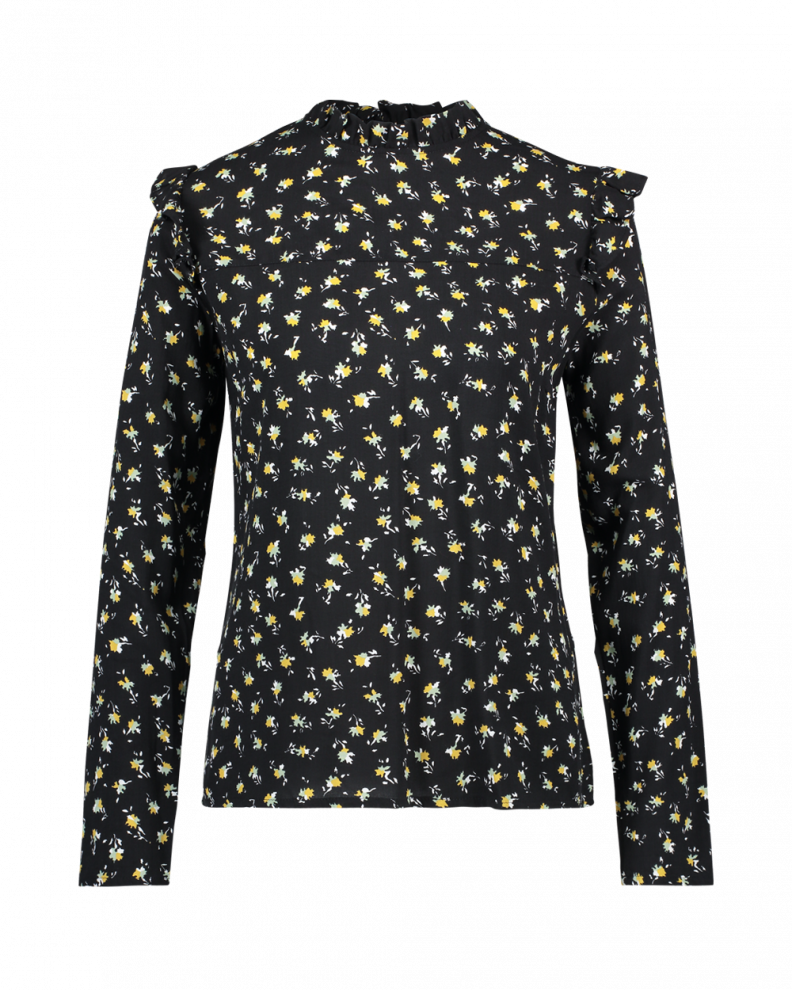 France Flower Blouse Black