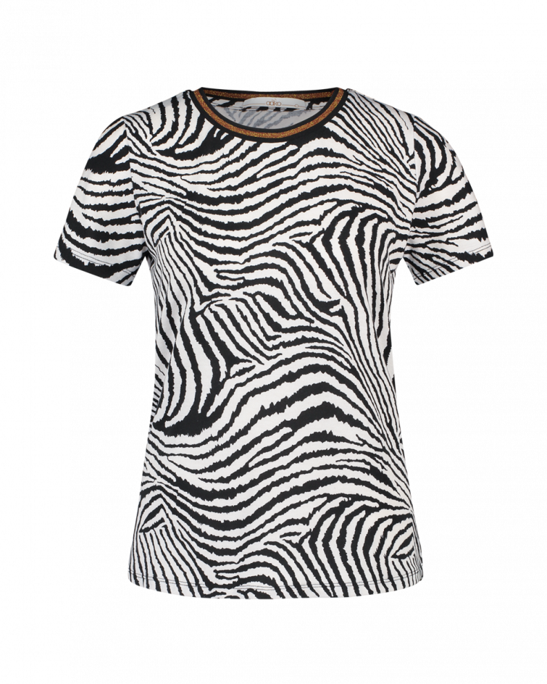 Alicia zebra top black