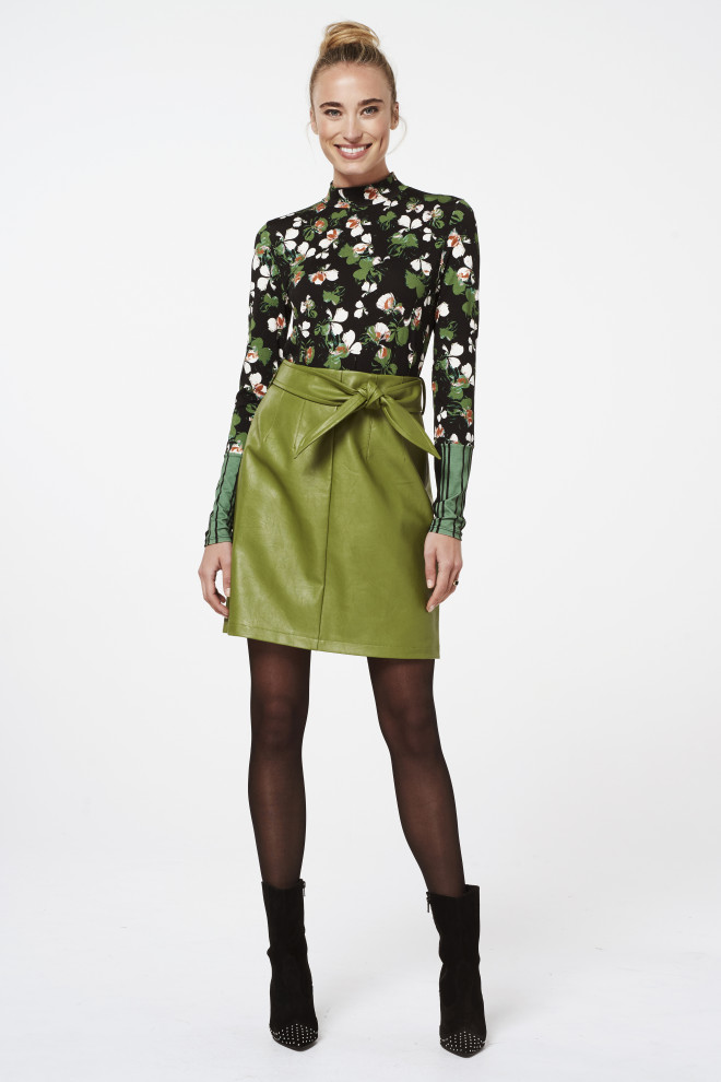 Patia Leather Skirt Green