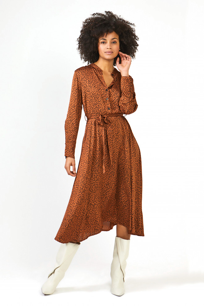 Soraya Leopard Dress Brown