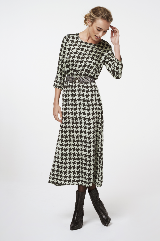 Metina Pied Dress Green