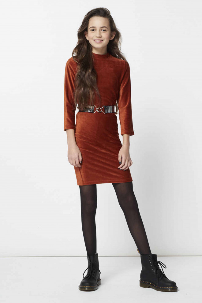 Lianne rib dress brown