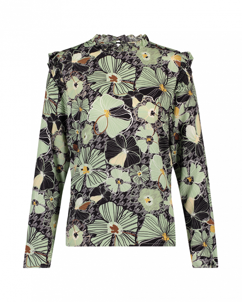 France floral top green