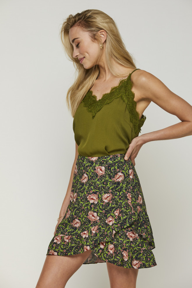 Becky Flower Skirt Green
