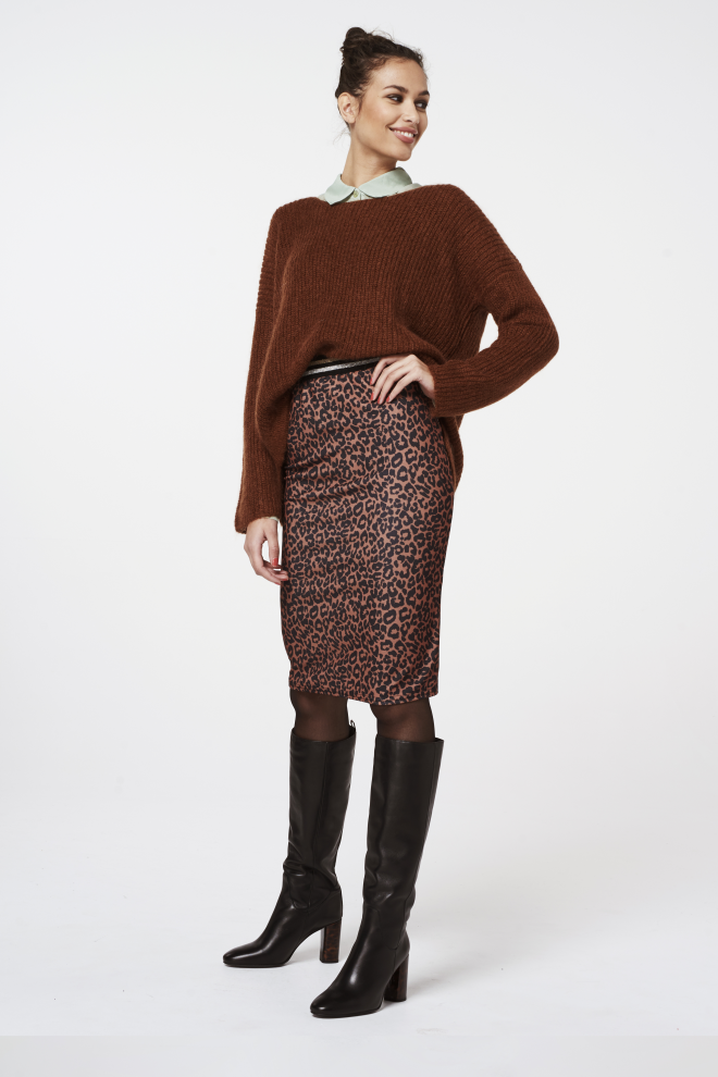 Mosa Leopard Skirt Brown